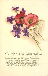 A HAPPY BIRTHDAY violets, anemones, lilies-of-the-valley