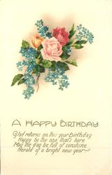 A HAPPY BIRTHDAY   roses, forget-me-nots