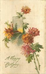 A HAPPY BIRTHDAY  chrysanthemums, small rural inset