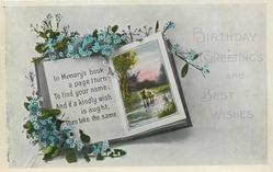 BIRTHDAY GREETINGS AND BEST WISHES  forget-me-nots, book