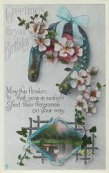 GREETINGS FOR YOUR BIRTHDAY  dog-roses, rural inset
