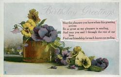 BIRTHDAY GREETINGS  pansies