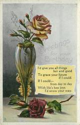 GREETINGS FOR YOUR BIRTHDAY  roses, vase