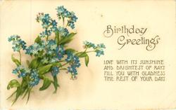 BIRTHDAY GREETING blue forget-me-nots
