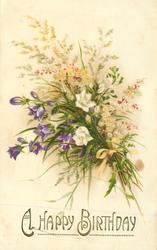 A HAPPY BIRTHDAY  bunch of wild-flowers & grasses tied with yellow ribbon