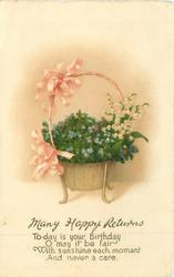 MANY HAPPY RETURNS basket of forget-me-nots & lilies-of -the-valley