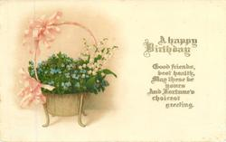 MANY HAPPY RETURNS basket of forget-me-nots & lilies-of -the-valley, pale pink ribbons