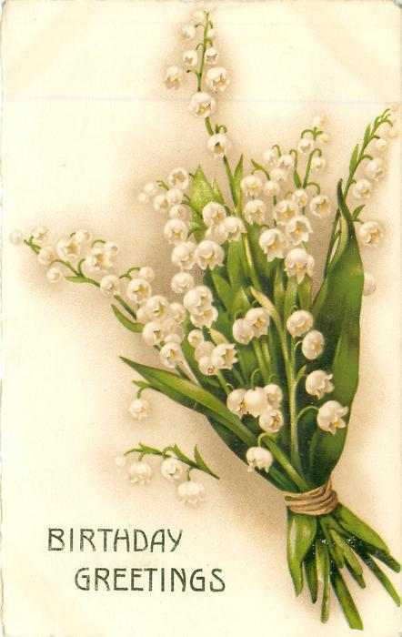 BIRTHDAY GREETINGS  bunch of white lilies-of-the-valley