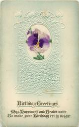 BIRTHDAY GREETINGS  silk pansy