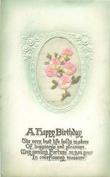 A HAPPY BIRTHDAY  silk pink flowers