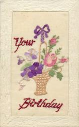 YOUR BIRTHDAY  large insert, floral basket
