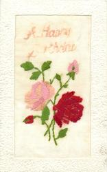 A HAPPY BIRTHDAY  large floral insert, pink & red roses, buds