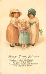 MANY HAPPY RETURNS three children with flowers