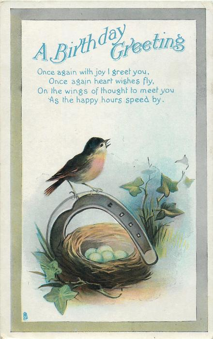 A BIRTHDAY GREETING  robin, nest of eggs, horseshoe, ivy