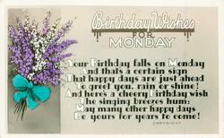 BIRTHDAY WISHES FOR MONDAY  heather