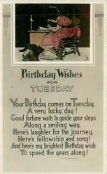 BIRTHDAY WISHES FOR TUESDAY inset girl writing, black cat