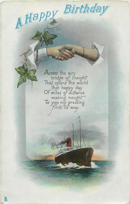A HAPPY BIRTHDAY  clasped hands over ship