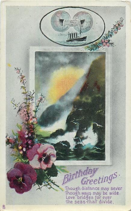 BIRTHDAY GREETINGS  pansies, heather, seascape