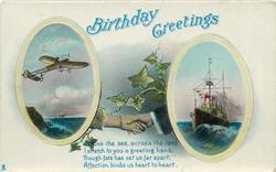 BIRTHDAY GREETINGS  clasped hands, inserts old airplane/ship