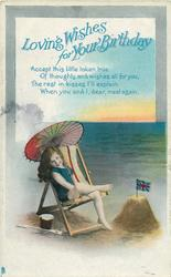 LOVING WISHES FOR YOUR BIRTHDAY  girl sits in deck chair beside sandcastle