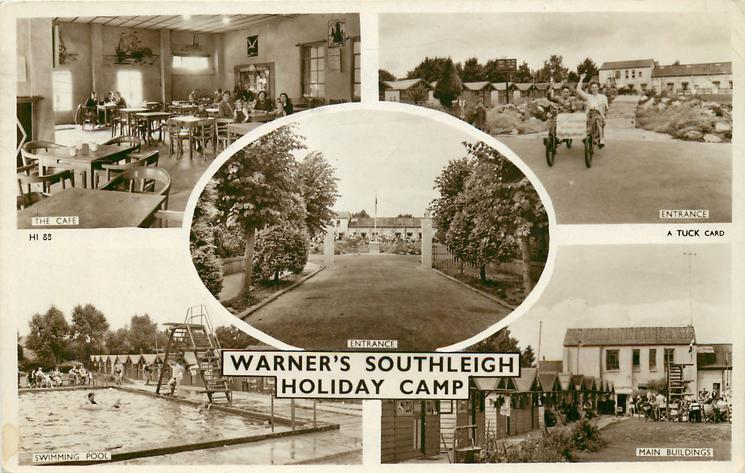 5 insets WARNER'S SOUTHLEIGH HOLIDAY CAMP, THE CAFE  /ENTRANCE /ENTRANCE /SWIMMING POOL /MAIN BUILDINGS