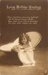 LOVING BIRTHDAY GREETINGS  girl sits in bath holding sponge left