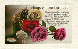 GREETINGS ON YOUR  BIRTHDAY  basket of roses