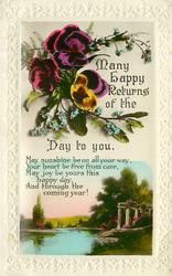 MANY HAPPY RETURNS OF THE DAY TO YOU  pansies above inset view below