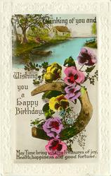 THINKING OF YOU AND WISHING YOU A HAPPY BIRTHDAY pansies twined round horseshoe below rural inset