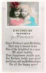 BIRTHDAY WISHES FOR FRIDAY inset head & shoulders of two young girls