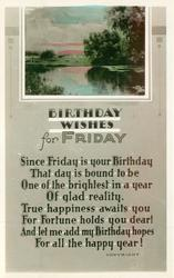 BIRTHDAY WISHES FOR FRIDAY inset rural lake scene