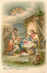 WITH GLAD CHRISTMAS GREETINGS  adoration of jesus at the stable, three angels high above