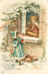 MERRY CHRISTMAS GREETINGS  boy sitting on window-sill & girl below show toys