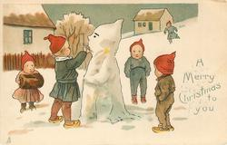 A MERRY CHRISTMAS TO YOU  dwarves play around snowman