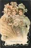 CHRISTMAS GREETINGS  three elaborately dressed girls in cream & gold stand close together, central muff
