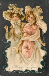 A HAPPY NEW YEAR  two elaborately dressed girls in pink & green, one holds up lorgnette