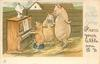 MERRY CHRISTMAS GREETINGS  piglet plays piano for admiring parents