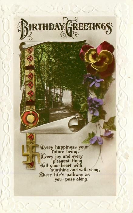 BIRTHDAY GREETINGS, view , pansies, violets, swastika