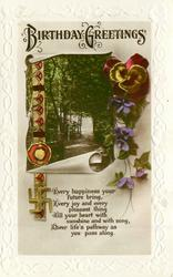 BIRTHDAY GREETINGS, view , pansies, violets, swastika