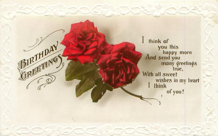 Birthday Greeting Two Red Roses Tuckdb Postcards