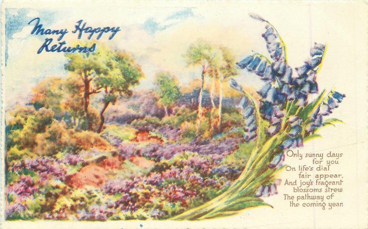 MANY HAPPY RETURNS heather, bluebells & trees