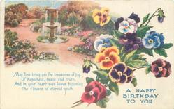 A HAPPY BIRTHDAY TO YOU pansies, fountain