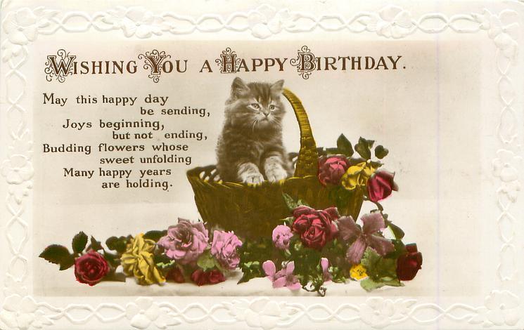 WISHING YOU A HAPPY BIRTHDAY kitten in basket, flowers below