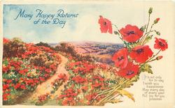 MANY HAPPY RETURNS OF THE DAY red poppies