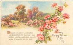 MANY HAPPY RETURNS OF THE DAY rural scene, wild-roses