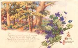 A HAPPY BIRTHDAY rural scene, violets