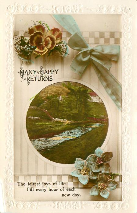 MANY HAPPY RETURNS   flowers, view, bow & ribbon