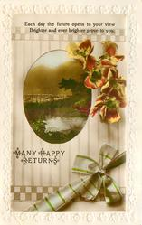 MANY HAPPY RETURNS  rural scene, anemones, bow & ribbon