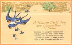 A HAPPY BIRTHDAY AND A HAPPY YEAR TO FOLLOW rising sun & swallows, narrow orange border