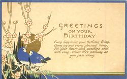 GREETINGS ON YOUR BIRTHDAY  blue-birds, sun & blossom, narrow blue border